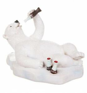 Coca-Cola Lying On Back Polar Bear Resin Figurine Drinking a Coke