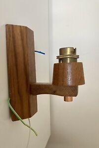 Vintage Retro Mid Century Teak Wooden Wall Light Sconce Fitting