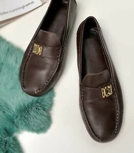 Auth Louis Vuitton S-Lock Driving Loafers Leather Brown Montecarlo Sz 36