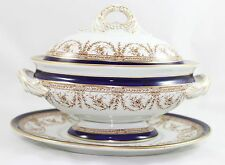 FAB ANTIQUE 3PC COVERED SAUCE BOAT+ ROYAL WORCESTER CHINA W5491 COBALT BLUE GOLD