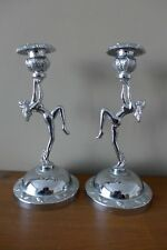 Vintage Antique Chrome Lady Gymnastic Candlestick Holder Pair Collector 17-05
