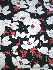 """Keepsake Calilco White Coral Floral on Black Cotton Quilt Fabric~1/2 Yd 18""""x43"""""""
