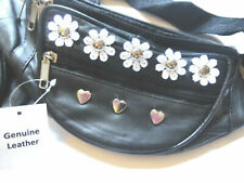 100% Genuine Black Leather Bum Bag  - Daisy, Flowers, Hearts & Studs, Festival