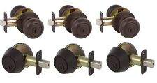 3 Saxon Entry Door Knobs with Deadbolts in Oil Rubbed Bronze  - Free Key Alike