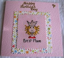 """Mothers Day Completed Cross Stitch Best Mum 5.5""""Sq"""
