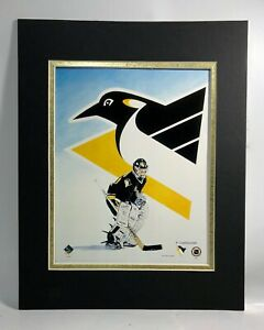 Pittsburgh Penquins Hockey 1995 Goalie MATTED 11X14 Lithograph by Kelly Russell