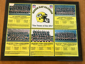 """Green Bay Packers """"the Team Of The 60's"""" Plaque GREAT SHAPE WOOD BEAUTY 15""""X19"""""""