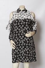 TANYA TAYLOR Black White Floral Cut Out Silk Wynn Dress Sz 2 NWT $545