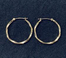 10k Yellow Gold Diamond Cut Textured Twisted Hoop Hook Earrings