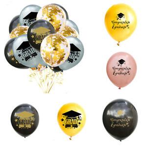 15PC Graduation Season Theme Balloon Set Black and Gold Student Party Decor yu