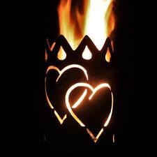 Herz Fackel - Set mit Stiel und Brennmitteln Gartenfackel Wachsrollen