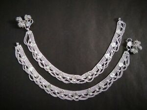 22K Silver Plated Indian 10'' Anklet Indian Style Chain Women Jewelry ABg