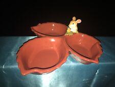 Vintage Charming Tails Mouse & Acorn Serving Dish 3 Leaf 3/10 Unique Estate ��j8