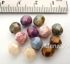 25 6 mm Czech Glass Firepolish Beads: Luster - Opaque Mix