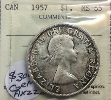 Canada 1957 Silver Dollar MS 65  ICCS  Wonderful Original Coin