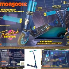 Mongoose Stance Freestyle Scooter Throwback Edition Beginners Stunt Style ~ Blue