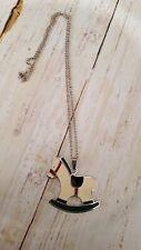 "Vintage Wallace Silversmiths Enamel Christmas Rocking Horse 18"" necklace"