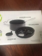 """Food Network 8.5"""" Hard-Anodized Nonstick 4 cups Egg Poacher with Glass Lid NEW"""
