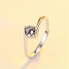 Love Wedding Jewelry Ring Size 6 Fashion 925Silver Heart Cubic Zirconia Enternal