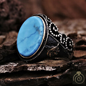 Men Turquoise Signet Ring Blue Stone Silver Infinity Band Viking Empire Jewelry