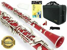 D'Luca 200 Series Red Bb Clarinet 17 Keys with 1 Year Manufacturer Warranty