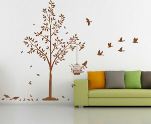 Large Tree with Birds & Cage Wall Art Vinyl Sticker, Wall Sticker- HIGH QUALITY