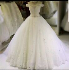 UK White Ivory Off Shoulder Beaded Sequins Ball Gown Wedding Dresses Size 6-20