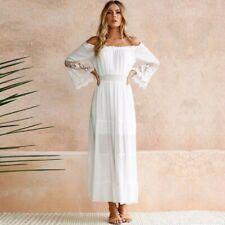 Women Off Shoulder Dress Summer Lace Beach Boho Party Maxi Sundress Dreses NEW