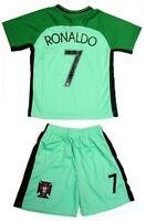Portugal Green Away Soccer Jersey & Shorts Ronaldo #7 Uniform Kit Kids Youth