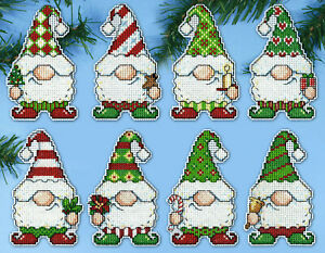 Cross Stitch Kit ~ Design Works 8 Gnome Christmas Ornaments PC #DW6880