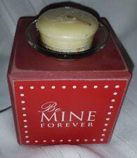 "Valentine Be Mine Forever wood block Tea Light Candle Holder Red 3.5"""