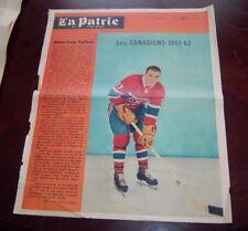 Jean -Guy Talbot La Patrie Du Dimanche photo Montreal Canadians 1961-62