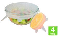 Silikon Strech Frischhaltedeckel 4 Teilig Universal Schüssel Obst Behälter