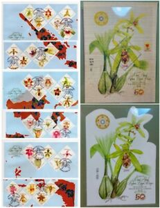 Indonesia 2017 ORCHIDS  BOTANIC GARDEN IMPERFORATED WOOD WOODEN & FDC EXHIBITION