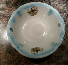Vintage Embossed Ironstone White & Blue Pheasants Farm House Wash Basin 15.25""