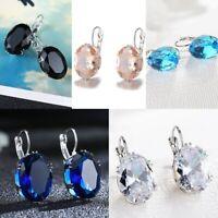 Gorgeous Oval Blue Sapphire Leverback Stud Earrings 925 Silver Wedding Jewelry
