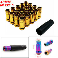 M12X1.5 Car Wheel Racing Lug Nuts V48 Steel Acorn Rim Extended Open End New Gold