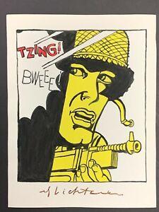 """Roy Lichtenstein Graphic Pop Art Soldier Painting on Paper, Signed 11"""" x 8.25"""""""