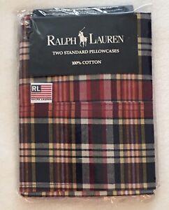 Ralph Lauren NIP Irregular 1 Bright Red Madras Plaid Standard Cotton Pillowcase