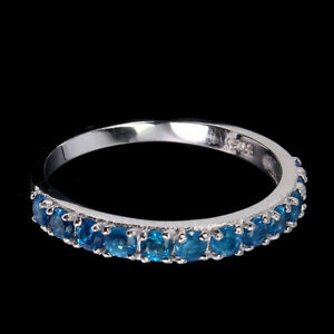 Round Paraiba Blue Apatite 3mm 14K White Gold Plate 925 Sterling Silver Ring 7