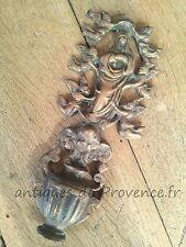 Superbe ancien ornement décor benitier bas relief Bronze Vierge Marie ange XIXèm