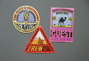 Tom Petty backstage passes 3 cloth stickers AUTHENTIC RARE Rock n Roll Caravan!!