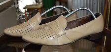 Herren Slipper Halbschuhe 50er TRUE Vintage 60´s Loafer beige Leder spitz UK 8,5