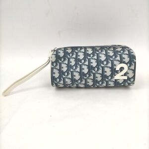 Christian Dior Cosmetic Pouch GirlyLine Trotter Navy Blue PVC 1411620