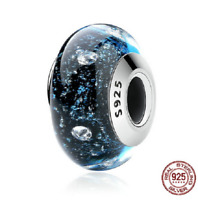 100% 925 Sterling Silver Midnight Clear CZ Murano Glass Beads Charm pandora