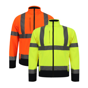 TWO TONE SOFT SHELL JACKET HIGH VISIBILITY WORK WEAR FLEECE LINED REFLECTIVE