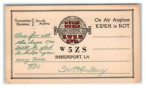 "SHREVEPORT, Louisiana LA ""Hello World"" Globe KWKH - KWEA Radio 1934  Postcard"