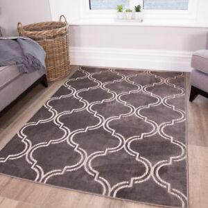 Grey Moroccan Washable Rug Trellis Indoor Outdoor Rugs Easy Clean Flatweave Mat