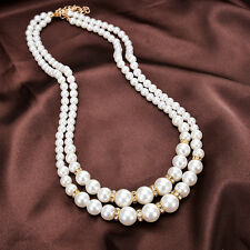 HK- Women Faux Pearl Beads Rhinestone Inlaid Double Layer Necklace Jewelry Great
