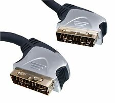 10m 21 Pin RGB Scart Lead Cable Gold Plated for Sky TV / Freeview / DVD / VCR